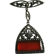 Vintage Sterling Carnelian and Marcasite Dangling Brooch