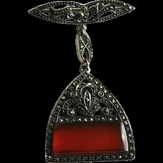 Vintage Sterling Carnelian and Marcasite Dangling Brooch