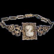 Antique Edwardian Vermiel Sterling Silver Marcasite Cameo Bracelet