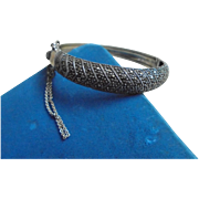 Sterling Silver Clamper Cuff Marcasite Bracelet with safety chain