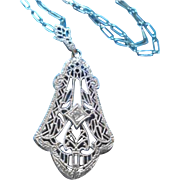 10K Diamond Esemco Art Deco Era Filigree Pendant Necklace