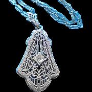 10K Diamond Esemco Art Deco Era Filigree Pendant Necklace