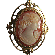 Artist Signed 14K Gold Ornate Frame Carnelian Carved Shell Cameo Brooch Pendant