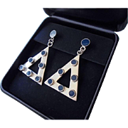 Chunky 925 Mexico Lapis Lazuli Inlaid Stone Sterling Silver Earrings