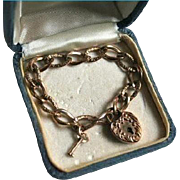 Antique Gold-Filled Heart Padlock Night & Day Repousse Bracelet with Key