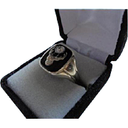 18K Antique Elks Lodge Diamond Onyx Men's Ring Size 11