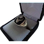 18K Antique Elks Lodge Diamond Onyx Men's Ring Size 11