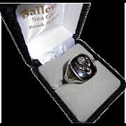 Antique Elks Large Diamond 18K White Gold Men's Ring Size 11