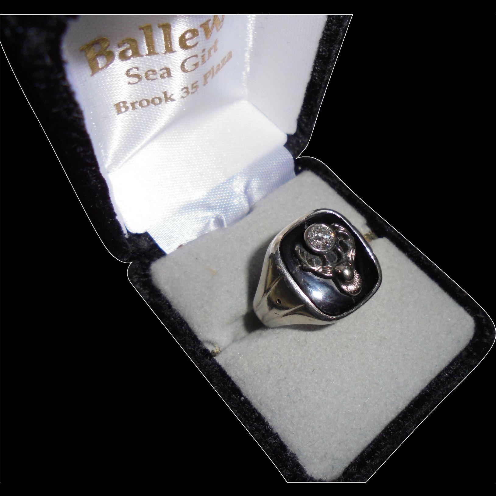 Huge Antique Elks Large Diamond 18K White Gold Men's Ring Size 11