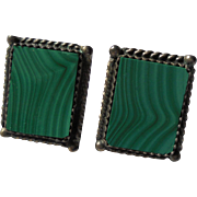 Vintage Inlaid Malachite Modernist Sterling Silver Pierced Earrings