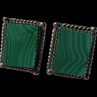 Vintage Inlaid Malachite Modernist Sterling Silver Pierced Earrings