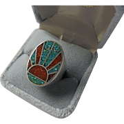 Sterling Silver Crushed Turquoise & Coral Inlaid Ring