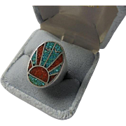Mosaic Sunset Sterling Silver Crushed Turquoise & Coral Inlaid Ring