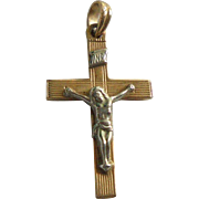 Vintage 14K Gold Esemco of Italy Cross Crucifix Pendant Yellow & White Gold