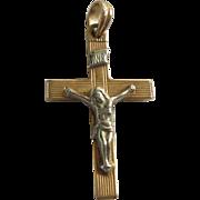 Vintage 14K Gold Esemco of Italy Cross Crucifix Pendant Yellow & White Gold