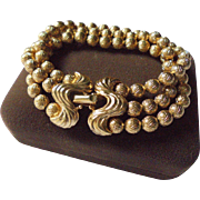 Spectacular Gold-Plated Crown Trifari Chunky Triple Strand Bracelet