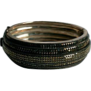 Heavy Judith Jack Sterling & Marcasite Clamper Cuff Bracelet