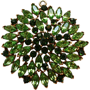 Huge Open-Backed Rhinestone Navette 2-tone Green Pendant