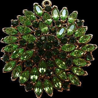 Huge Open-Backed Rhinestone Navette 2-tone Green Pendant