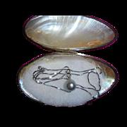 Diamond TCW .20 18K White Gold Tahitian Pearl Pendant Necklace