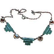 Art Deco Sterling Chrysoprase Marcasite & Crystal Necklace