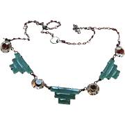 Reserved for MJ**  Art Deco Sterling Chrysoprase  & Crystal Necklace