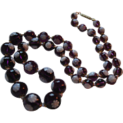 Rare Grape Glass Peacock Eye Millefiore Graduated Bead Necklace