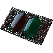 Art Deco Chrysoprase Carnelian Sterling Marcasite & Pink Crystal Brooch
