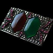 Art Deco Chrysoprase Carnelian Sterling Marcasite & Pink Crystal Brooch