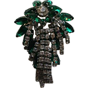 Emerald Green Hattie Carnegie Festive Cascading Rhinestone Brooch