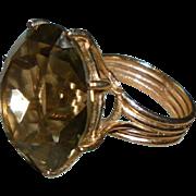 Huge 28 Carat 14K Gold Citrine Cocktail Ring Size 6.75