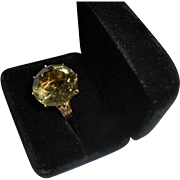 Huge 28 Carat 14K Gold Citrine Cocktail Ring Size 6.75