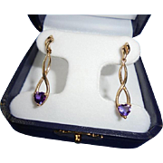 Elegant 14K Gold Heart Shaped Amethyst Dangling Drop Earrings