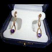 Elegant 14K Gold Heart Shaped Amethyst Dangling Drop Earrings