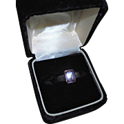 Emerald-Cut Sterling Silver Amethyst Ring Size 5 3/4