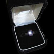 Emerald-Cut Sterling Silver Amethyst Ring Size 5 3/4