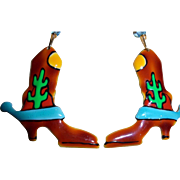 Lunch at the Ritz Cowgirl Boots Enamel Earrings