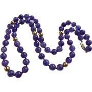 14K Gold & Amethyst 8mm Beaded Necklace