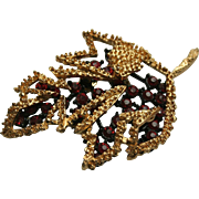 3-D Autumn Leaf Reticulated Red Rhinestone Brooch