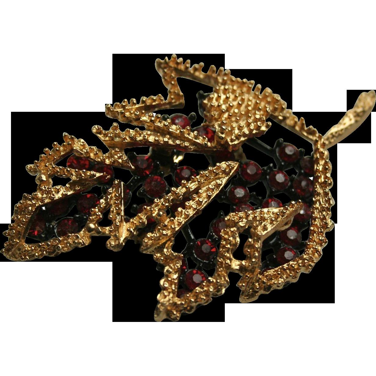 3-D Autumn Leaf Reticulated Red Rhinestone Brooch