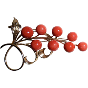 Large 14K Solid Yellow Gold Natural Coral  Berry & Leaves Brooch