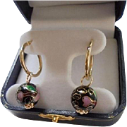 Solid 14K Gold Cloisonne Earrings Beautiful