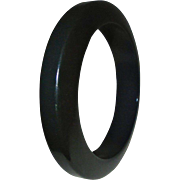 Unusual Geometric Black Bakelite Bangle Bracelet ~ Chic