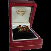 Cartier Exquiste 18K Yellow Gold Diamond & Enamel Ring Size 5.5