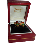 Cartier Exquiste 18K Yellow Gold Diamond & Enamel Ring Size 5.5