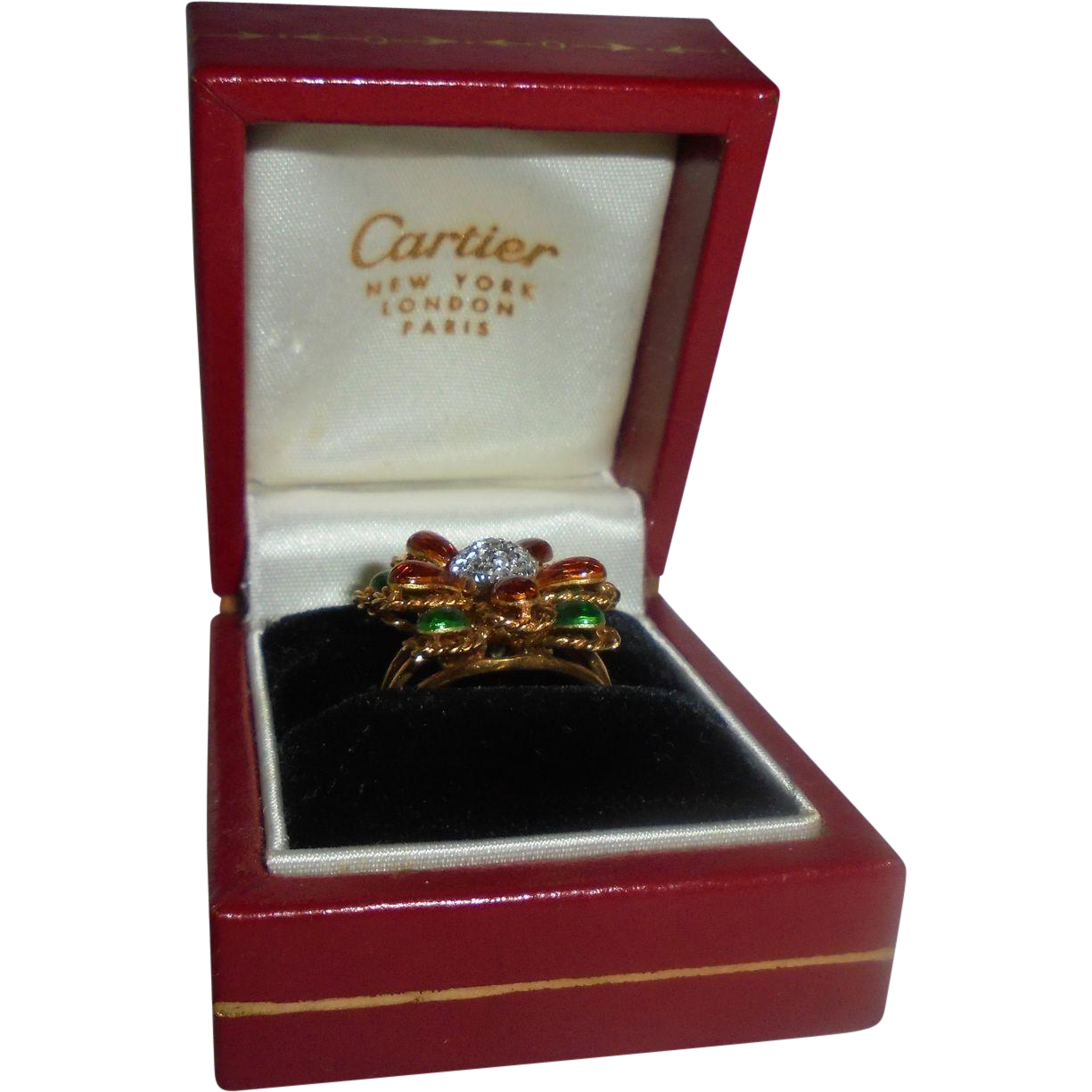 Cartier Exquiste 18K Yellow Gold Diamond & Enamel Ring Size 5.5 in Box