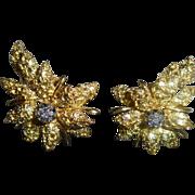 18K Diamond Black Starr & Frost Christmas Floral Poinsettia Omega Earrings