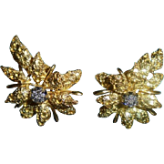 18K Diamond Black Starr & Frost  Floral  Omega Earrings