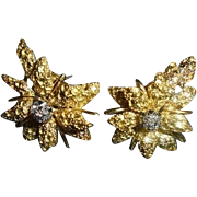 18K Gold & Genuine Diamond Black Starr & Frost Floral Omega Earrings