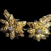 18K Gold & Genuine Diamond Black Starr & Frost Floral Omega Earrings